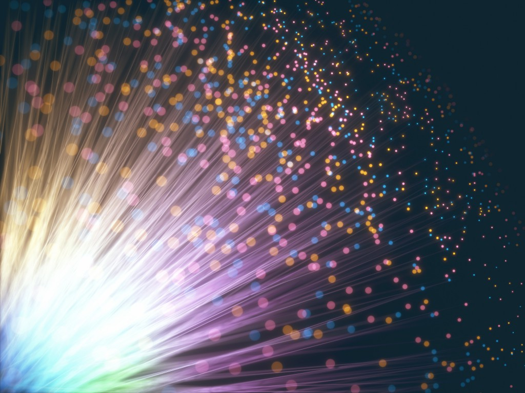 Colored optical fiber with depth-of-field effect and bokeh effect.
