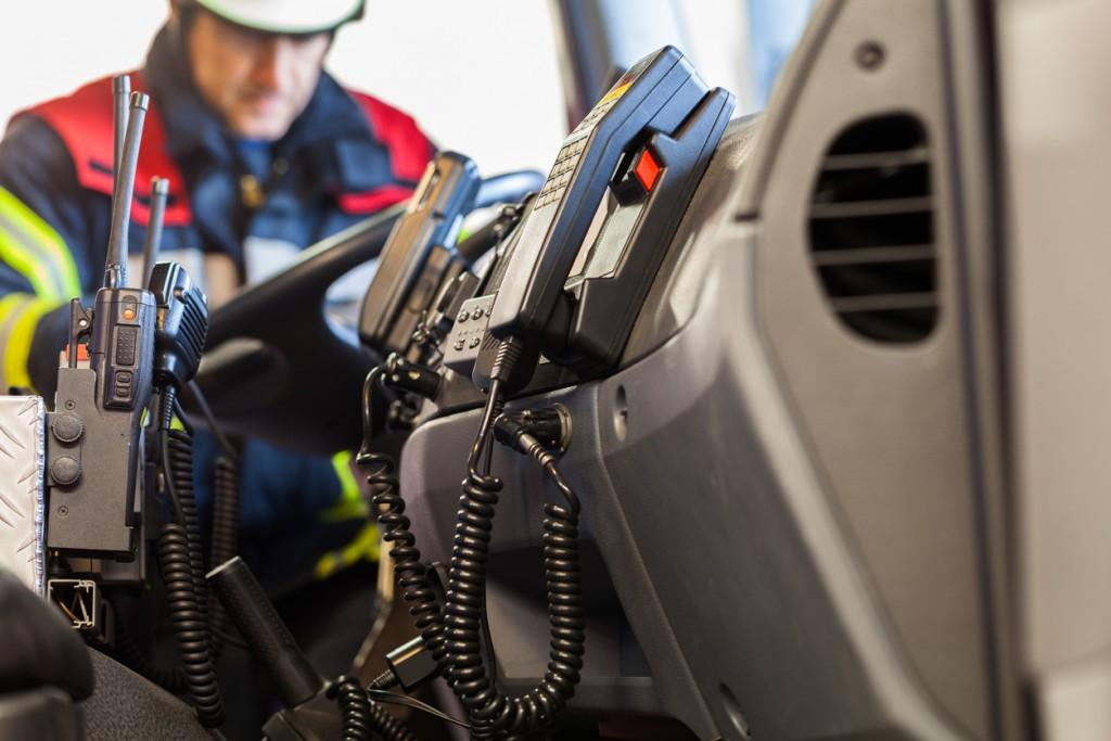 Radios in a fire truck