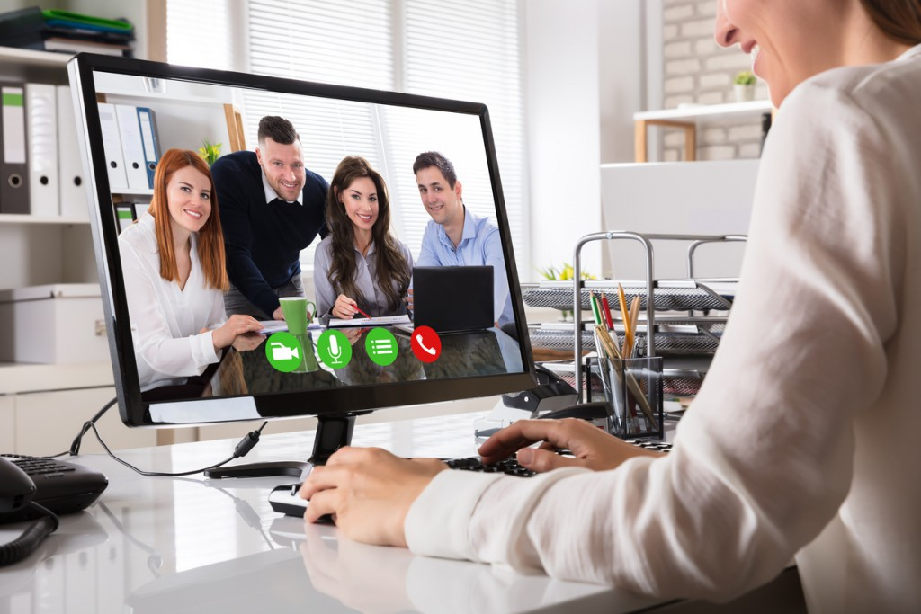 Businesswoman Videoconferencing On Computer