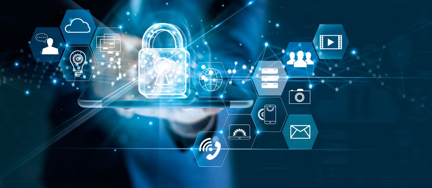 Data protection privacy concept. GDPR. EU. Cyber security network. Business man protecting data personal information on tablet. Padlock icon and internet technology networking connection on digital dark blue background.